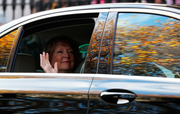 Kathleen Watkins, wife of the celebrated broadcaster Gay Byrne, leaving St. Mary's Pro-Cathedral in Dublin following his funeral service.