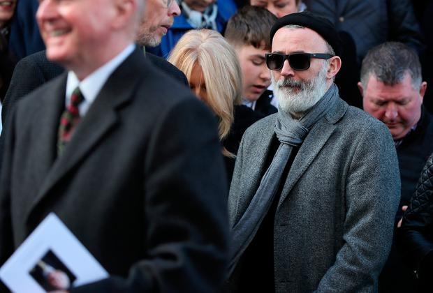 Comedian Tommy Tiernan among the mourners on the steps of St. Mary's Pro-Cathedral in Dublin following the funeral service of celebrated broadcaster Gay Byrne.