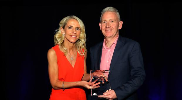 Roisin Byrne, Hays Recruitment, with Patrick McAliskey from Novosco, winner in the IT Professional of the Year category