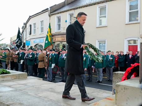 Taoiseach Leo Varadkar places a wreath during the Remembrance Sunday service at the Cenotaph in Enniskillen, held in tribute for members of the armed forces who have died in major conflicts. Niall Carson/PA Wire