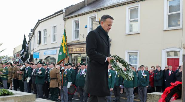 Taoiseach Leo Varadkar places a wreath during the Remembrance Sunday service at the Cenotaph in Enniskillen, held in tribute to members of the armed forces who have died in major conflicts (Niall Carson/PA)