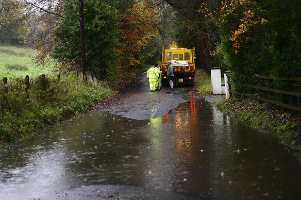 PACEMAKER BELFAST 12/11/2019 Several roads across Northern Ireland are flooded due to heavy rain. Police have advised motorists to reduce their speed and take care as surface water is affecting a number of roads. The Met Office has issued a yellow severe weather warning for rain in counties Down and Antrim. The Hillhall Road has been affected by the heavy rain. Picture By: Arthur Allison/ Pacemaker.