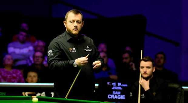 Mark Allen en route to his opening victory in Belfast
