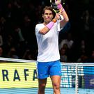 Miracle man: Rafael Nadal celebrates his comeback victory against Daniil Medvedev at the ATP Finals in London