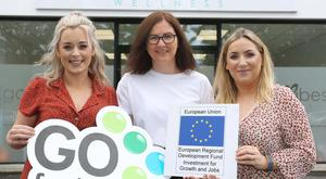 Co. Tyrone mumpreneurs - Joanne Gallagher and Stephanie Rice – launched Good Vibes in their hometown of Strabane, after identifying a gap in the market for alternative and holistic treatments in the town, thanks to support from the Go For It Programme in association with Derry City and Strabane District Council. Pictured with Stephanie Rice (left) and Joanne Gallagher (right) and with their business advisor, Orla McNulty, Strabane Enterprise Agency (Centre).