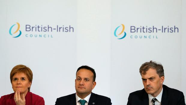 Scottish First Minister Nicola Sturgeon, Taioseach Leo Varadkar and Secretary of State for Northern Ireland Julian Smith sit down for the British Irish Council meeting at Farmleigh in Dublin. PA Photo. Picture date: Friday November 15, 2019. See PA story POLITICS BIC. Photo credit should read: Brian Lawless/PA Wire