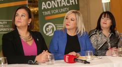 Mary Lou McDonald, Michelle O'Neill and Michelle Gildernew pictured at Sinn Fein's recent election launch. Photograph by Declan Roughan