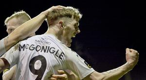 Crusaders Jamie McGonigle celebrates after scoring. Credit ©INPHO/Stephen Hamilton