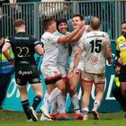 Ulster celebrate after Jacob Stockdale's game-winning intervention as they beat Bath 17-16 in the Heineken Champions Cup (David Rogers/Getty Images)