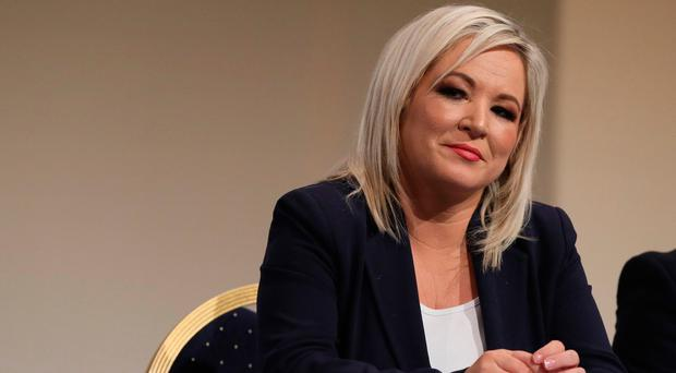 Michelle O'Neill after she survived a challenge to her position as the vice president of Sinn Fein at the Millenium Forum in Londonderry. Brian Lawless/PA Wire