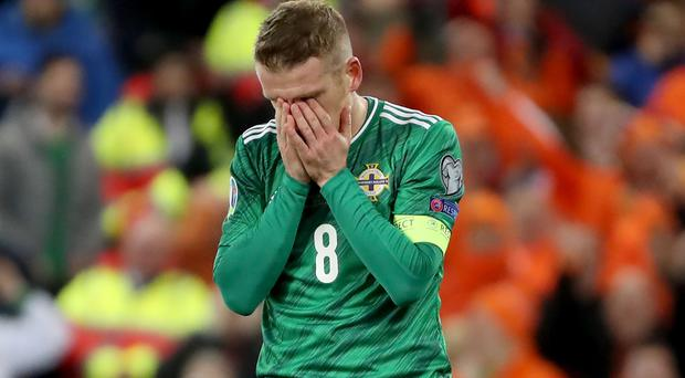 Press Eye - Belfast, Northern Ireland - 16th November 2019 - Photo by William Cherry/Presseye Northern Ireland's Steven Davis misses his penalty after Netherlands' Joel Veltman uses his arm to control the ball during Saturday nights UEFA Euro 2020 Qualifier at the National Stadium, Belfast. Photo by William Cherry/Presseye