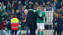 Northern Ireland manager Michael O'Neill, who has managed his last home game at Windsor Park, pictured with team captain Steven Davis after the game finished 0-0. Picture by Jonathan Porter/PressEye