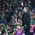 Northern Ireland's manager Michael O'Neill salutes the fans during this evening's game at the National Stadium, Belfast. Photo by David Maginnis/Pacemaker Press