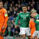 Northern Ireland's Steven Davis misses his penalty after Netherlands' Joel Veltman uses his arm to control the ball during Saturday nights UEFA Euro 2020 Qualifier at the National Stadium, Belfast