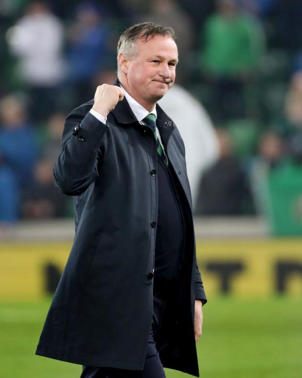 Micheal O'Neill at the final whistle