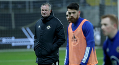 In charge: Michael O'Neill looks on as Northern Ireland train in Frankfurt