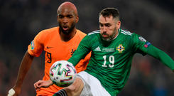 Impressive stuff: Ryan Babel (left) has admitted that Netherlands found the going tough against NI at Windsor Park