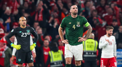 So close: the Republic's Shane Duffy shows his dejection last night
