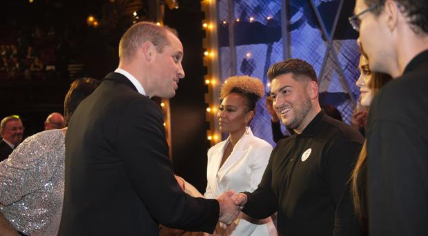 The Duke of Cambridge meets performers after the Royal Variety Performance (Geoff Pugh/The Daily Telegraph/PA)