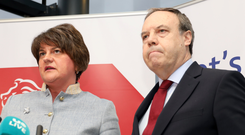 DUP leader Arlene Foster and North Belfast candidate Nigel Dodds at yesterday's DUP press conference