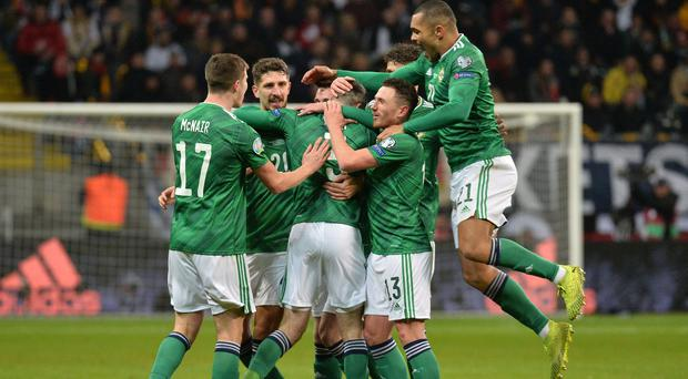 Northern Ireland's players celebrate Michael Smith's goal, but there was little to celebrate beyond that for Michael O'Neill's men (Colm Lenaghan/Pacemaker Press)