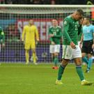 Northern Ireland's Josh Magennis looks dejected during their 6-1 loss to Germany in Frankfurt (Colm Lenaghan/Pacemaker Press)