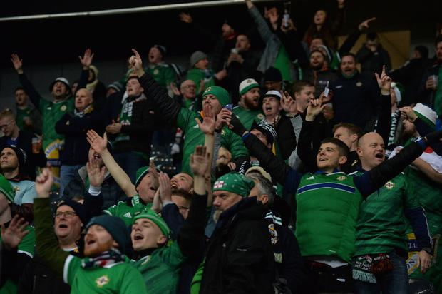 PACEMAKER BELFAST 19/11/19 Northern Ireland Fans during this evening's game at the Commerzbank Arena in Frankfurt. Photo Colm Lenaghan / Pacemaker Press