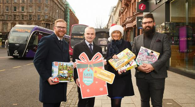 L-R is Simon Hamilton, Chief Executive of Belfast Chamber, Chris Conway, Translink Group Chief Executive, Anne McMullan Senior Director, Marketing & Communications at Visit Belfast and Joel Neill, Operations Director at Hospitality Ulster.