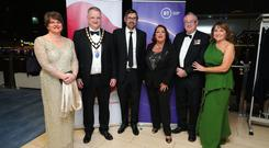 Arlene Foster, John Healy (President, NI Chamber); Louis Theroux (guest speaker) Tina McKenzie, Steve Aiken and Ann McGregor (NI Chamber) pictured at the NI Chamber Annual President's Banquet in ICC Belfast.