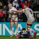 John Cooney celebrates scoring a try against Clermont (INPHO/Morgan Treacy)