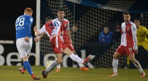 Glenavon's Robert Garrett scores during Friday night's game at Mournview Park. Credit: Colm Lenaghan/Pacemaker