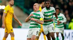 Celtic's Scott Brown celebrates scoring his side's second goal of the game during the Ladbrokes Scottish Premiership match at Celtic Park, Glasgow. Photo credit: