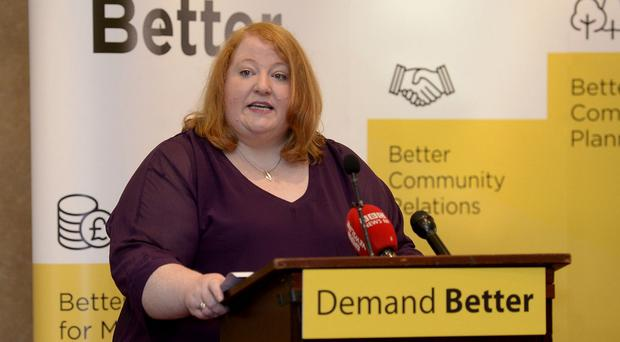Party Leader Naomi Long pictured at the Alliance party manifesto launch held at the Park Avenue Hotel in Belfast