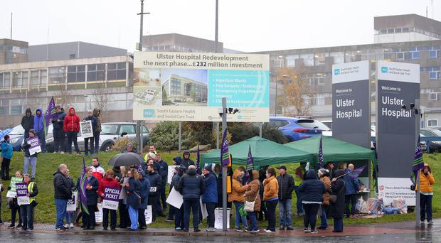 The picket line and walk out at the Ulster hospital. Picture by Jonathan Porter/PressEye
