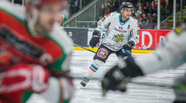 Belfast Giants forward David Goodwin on his debut for the team at the Cardiff Devils on Saturday (Pic: Rebecca Brain)