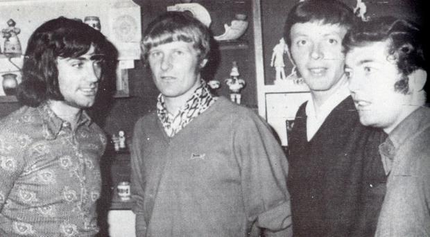 Martin Harvey (second from right) has passed away aged 78. Here he is pictured with Northern Ireland team-mates George Best (left), Willie McFaul (second from left), and Eric McMordie (right) in Moscow.