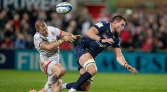 Ulster's Will Addison collides with Clermont lock Paul Jedrasiak in their clash at Kingspan Stadium on Friday (INPHO/Morgan Treacy)
