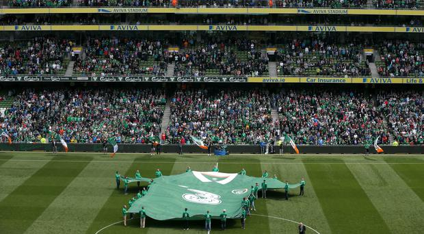 A giant Republic of Ireland shirt on the pitch before an international friendly at The Aviva Stadium, Dublin (Niall Carson/PA)