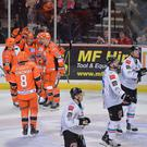 The Sheffield Steelers celebrate scoring in Wednesday's game at the FlyDSA Arena