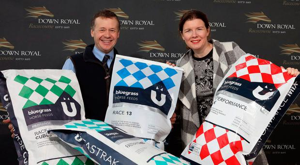 Partners: Down Royal Racecourse has signed a new sponsorship deal with Bluegrass Horse Feeds which will see the company supporting race fixtures and establishing an ongoing presence at the course throughout 2020. Pictured are Craig Kileff, Bluegrass Feed Consultant, and Claire Rutherford, Sales & Marketing Director at Down Royal
