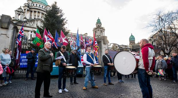 Billy Dickson speaking outside Belfast City Hall with the Boyne Bridge Defenders on the 7th anniversary of the Union Flag Protest. Credit: Liam McBurney/RAZORPIX