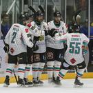 Curtis Hamilton celebrates scoring the Belfast Giants' opener against the Dundee Stars in Sunday evening's game