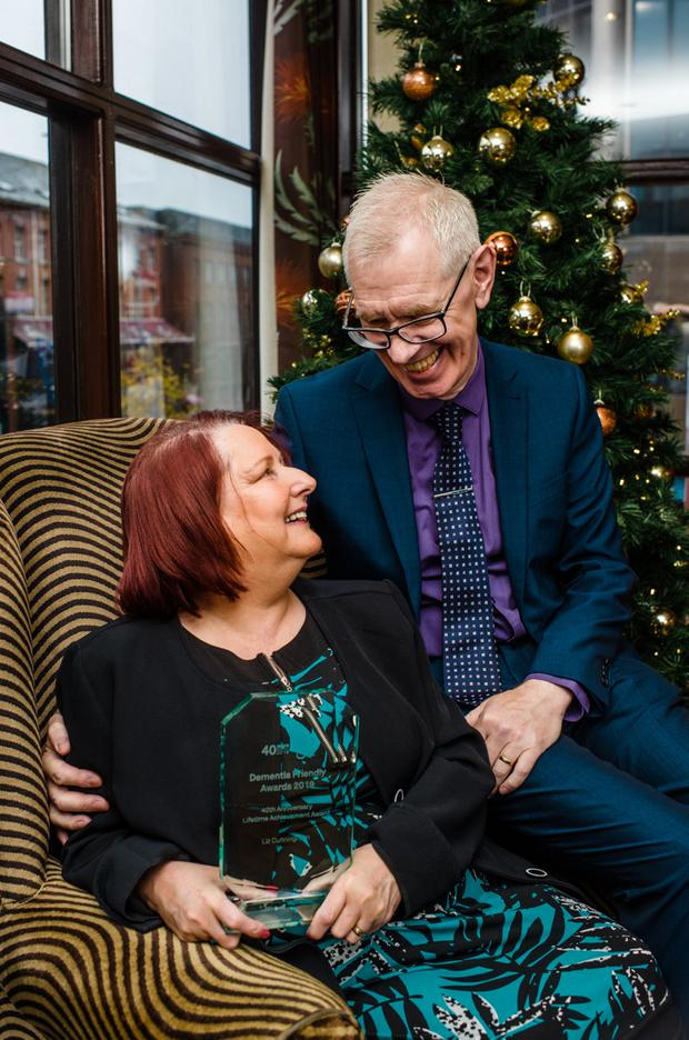 Liz Cunningham with her husband Phillip at the Dementia Friendly Awards in The Europa Hotel. Picture: Elaine Hill