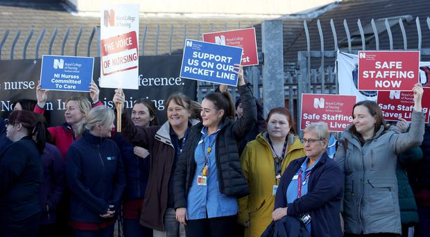 Nurses gathered at the gates of the Royal Victoria Hospital staging industrial action in protest at pay and unsafe staffing levels. December 2, 2019 Photo Laura Davison/Pacemaker Press