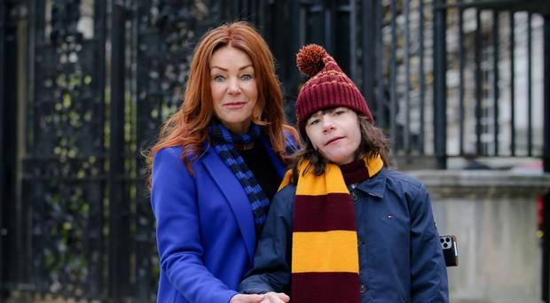 Tyrone teenager Billy Caldwell with mum Charlotte at Belfast High Court. Picture: Philip Magowan / PressEye