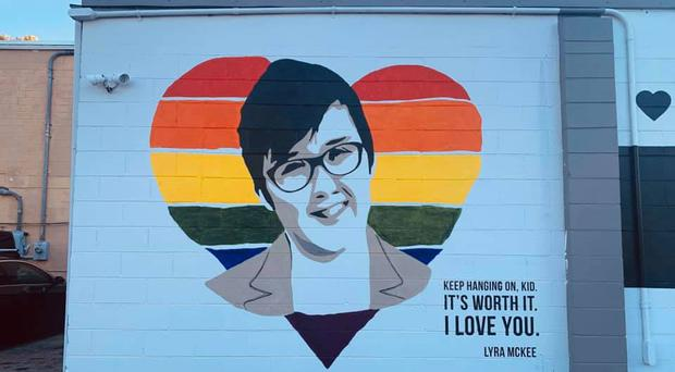 The Lyra McKee mural in Orlando, Florida.