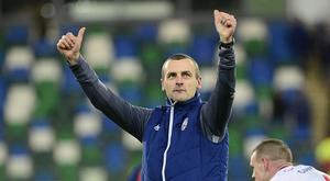 Coleraine boss Oran Kearney salutes the Bannsiders' support after their League Cup semi-final win over Linield.