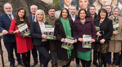 Sinn Fein's Mary Lou McDonald and Michelle O'Neill with general election candidates at the launch of the party's election manifesto in Derry this week