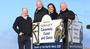 Alan Mulholland and Leone Paul of Olive Branch join Mervyn Whyte, event director of the fonaCAB and Nicholl Oils North West 200, and chief marshal Cathal Cunning to announce the Magherafelt based charity will be the sole designated charity of the 2020 event on May 10-16 (Stephen Davidson/Pacemaker)