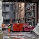 Christmas shoppers got their first glimpse of the extent of the work that has gone on so far to clear the interior of the fire ravaged Primark building at Castle Junction in Belfast city centre .